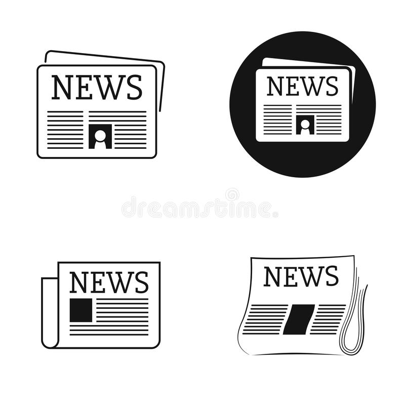 News icons. Black isolated icons newspaper news royalty free illustration