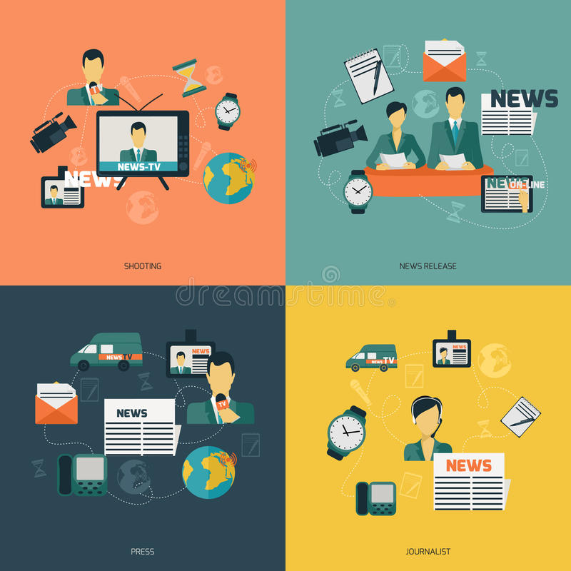 News icons flat. News flat set with shooting release press journalist isolated vector illustration vector illustration