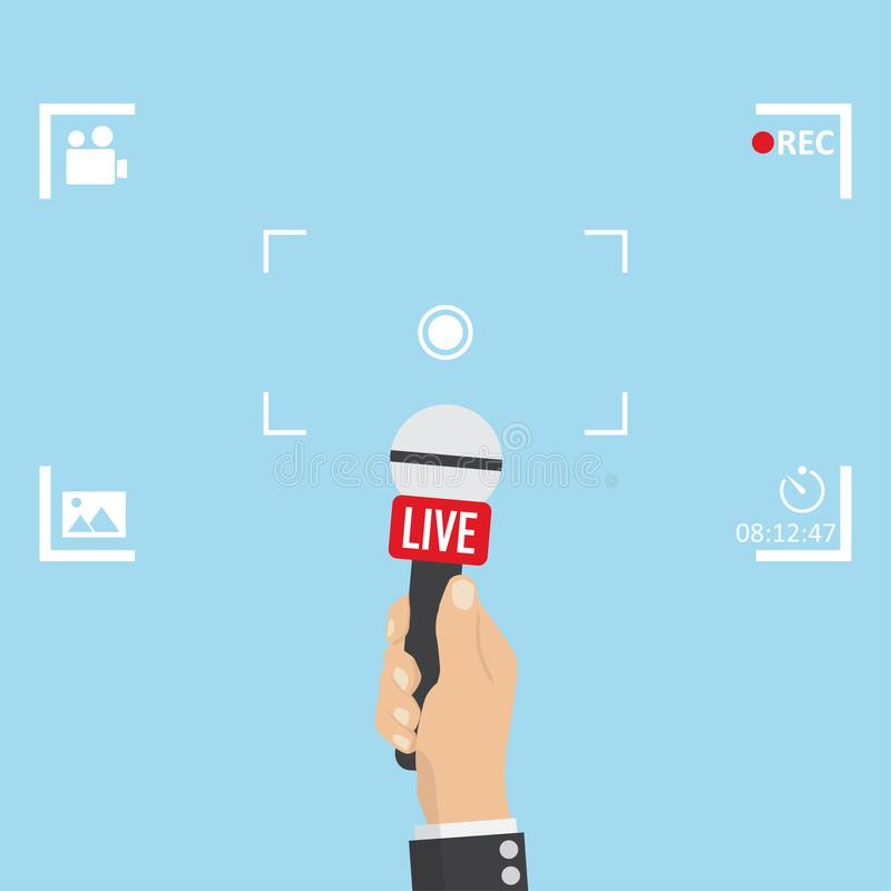 News illustration on focus TV and live with camera frame stock illustration