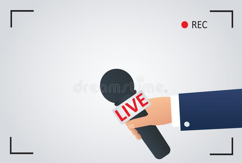 News illustration on focus tv and live with camera frame record. reporter with microphone, journalist symbol vector illustration