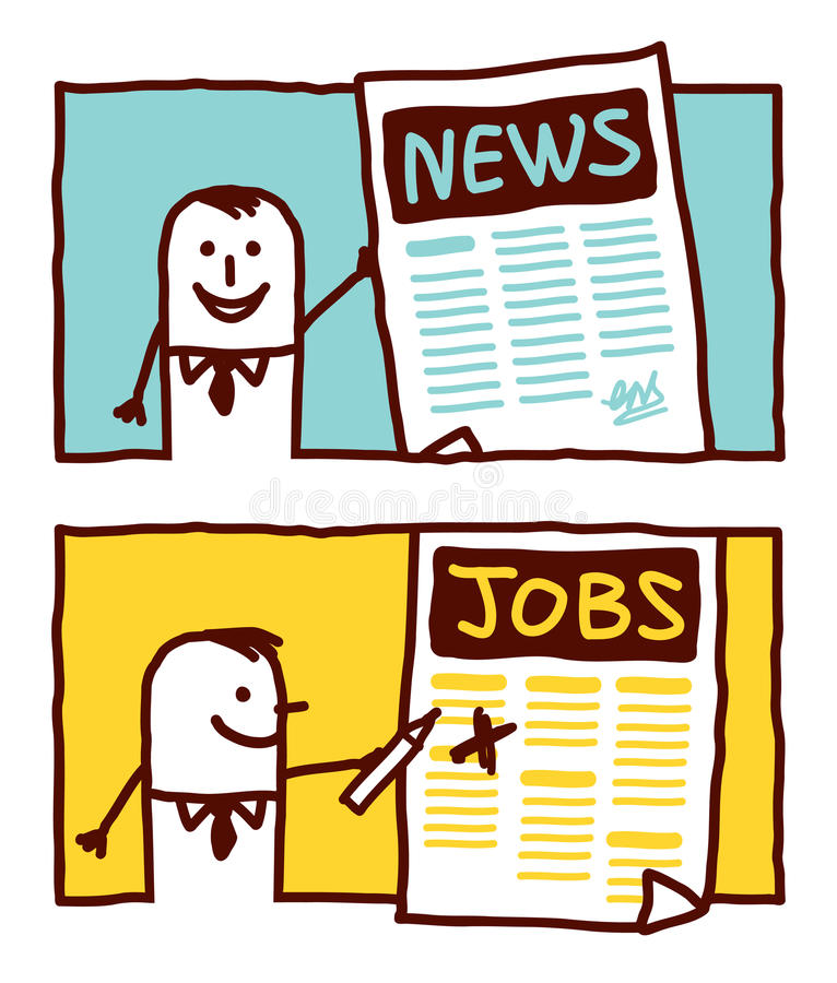 News & jobs. Vector hand drawn cartoon characters stock illustration