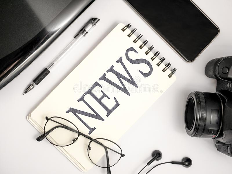News Journalist Concept, Top View Flat Layout Working Desk. News Maker Concept, Top View Flat Layout Photographer Press Journalist Working Desk. DSLR Camera with royalty free stock images