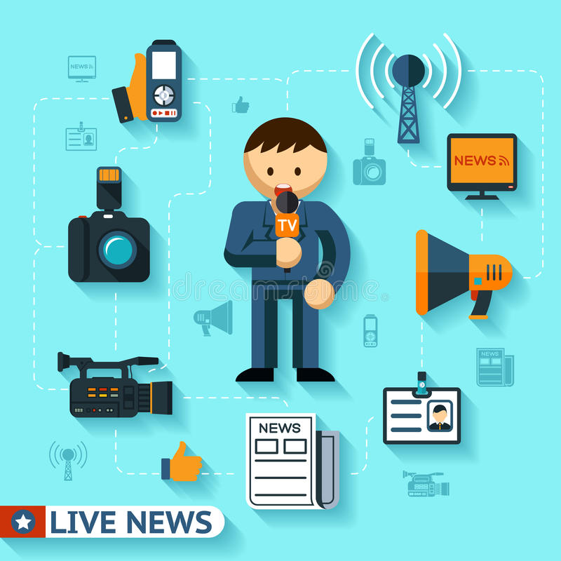 News and mass media. Vector concept, journalist and journalism flat icons stock illustration