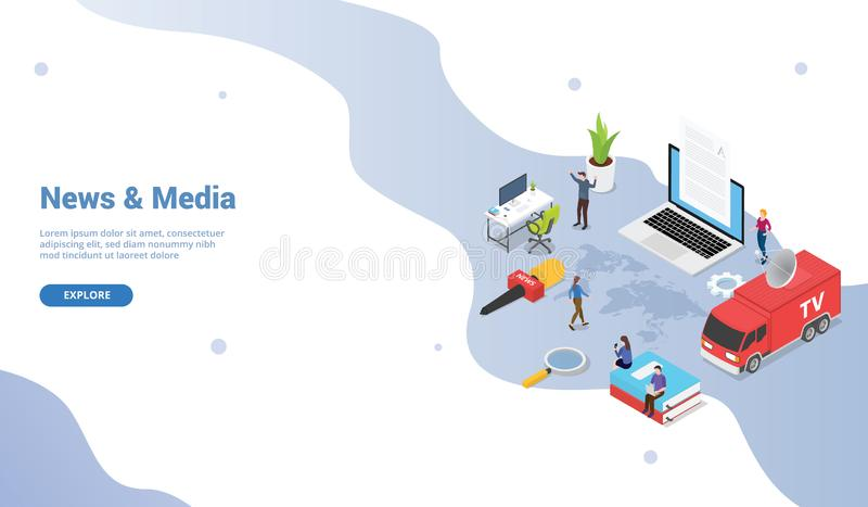 News and media concept template with tv van and news anchor mic with modern isometric for website template or landing homepage - royalty free illustration
