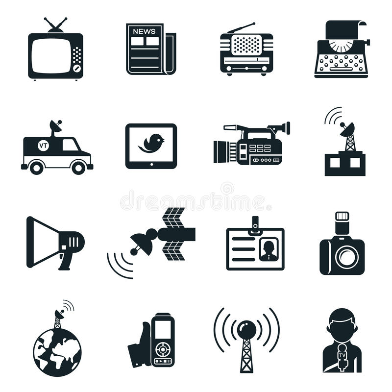 News and Media Icons stock illustration
