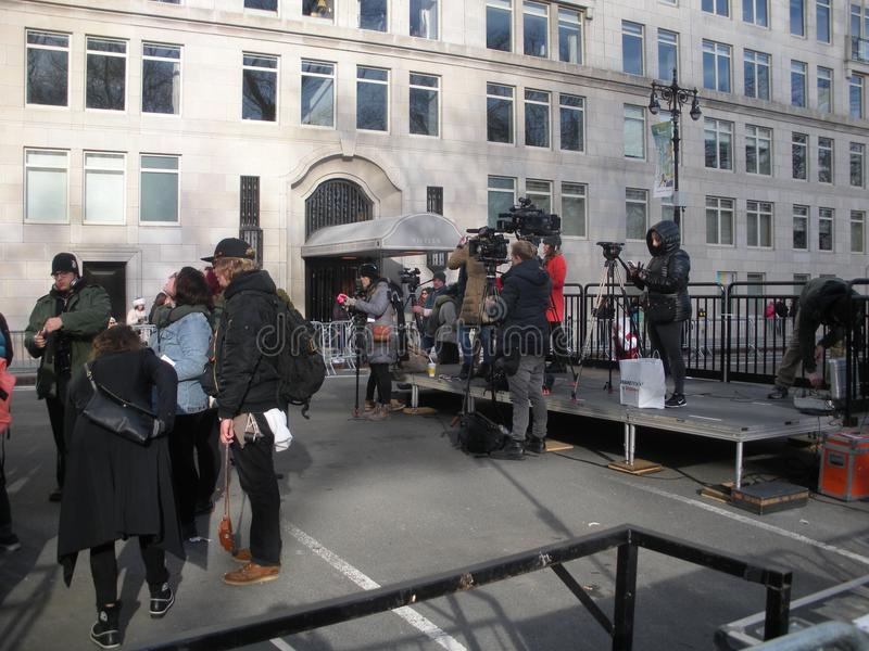 News Media, Journalists Setting Up Before the Women`s March, NYC, NY, USA stock photo