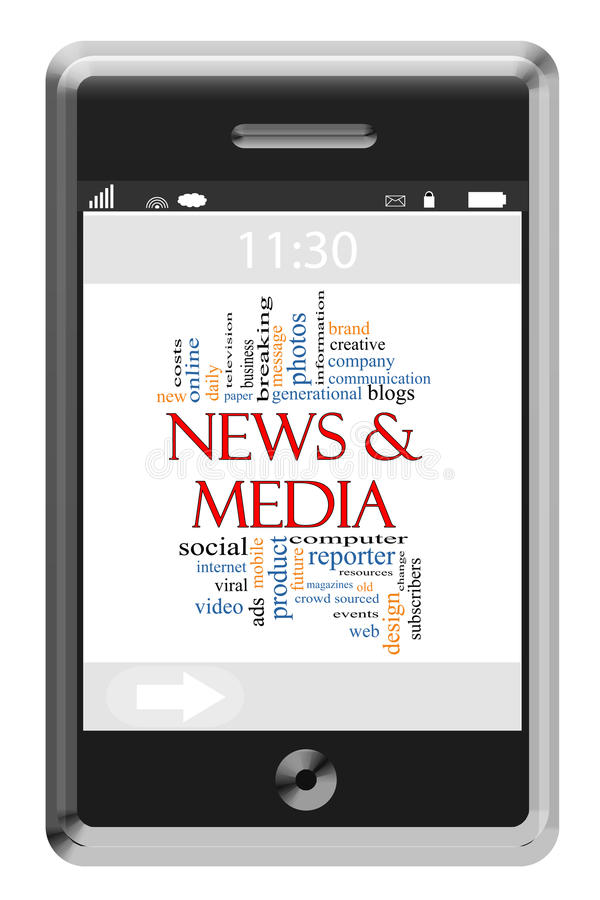 Download News & Media Word Cloud Concept On Touchscreen Phone Stock Illustration - Image: 26567556