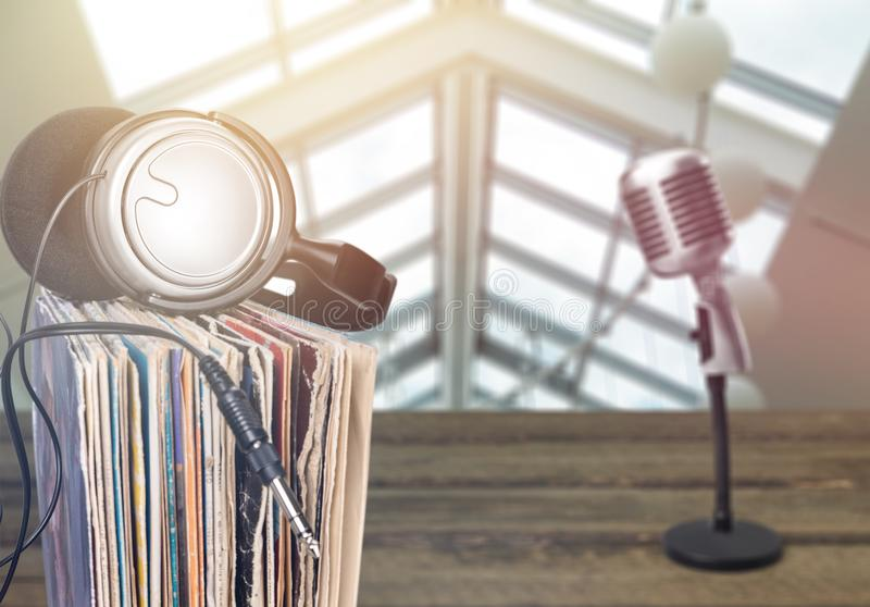 News and microphone on table stock images
