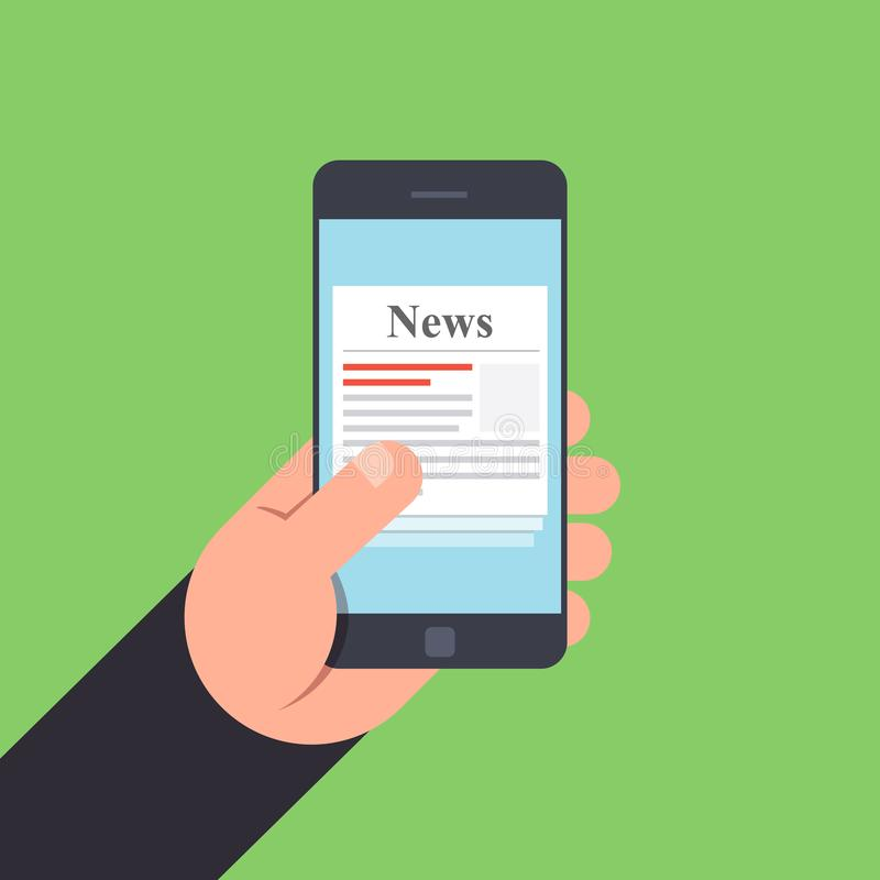 News on mobile phone in hand. Vector illustration in a flat style on a color background vector illustration