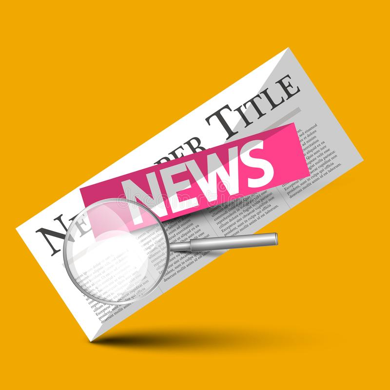 News - Newspapers Vector Symbol with Magnifying Glass. On Yellow Background royalty free illustration