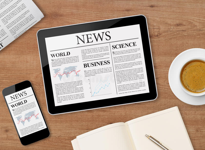 News page on tablet and mobile phone royalty free stock image