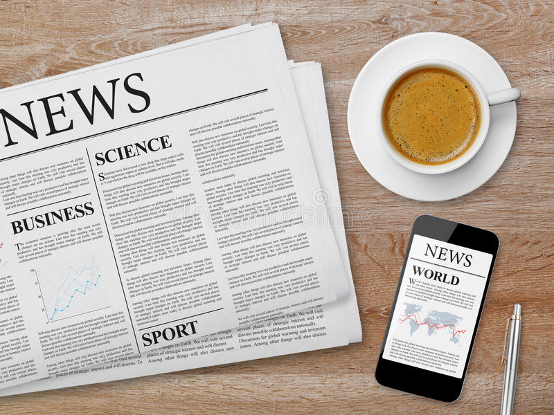 News page on tablet, newspaper and coffee royalty free stock photo