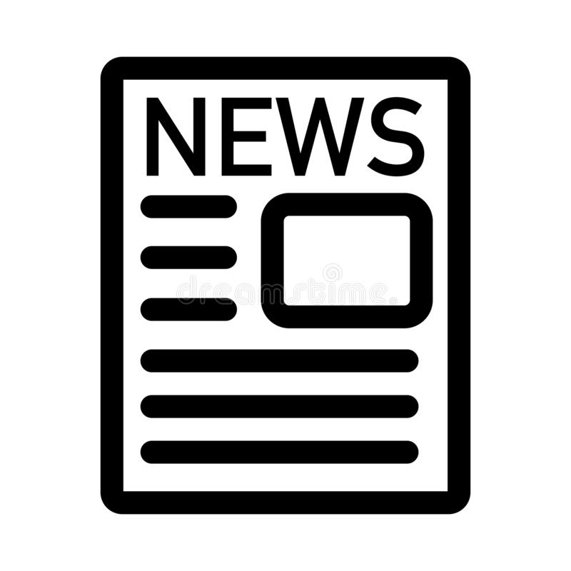 news paper icon black and white logo stock illustration