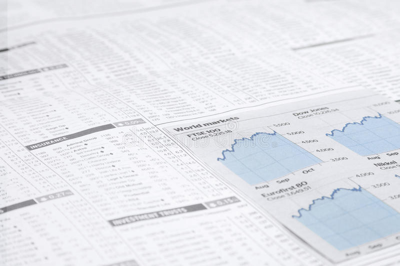 News paper Stock market financial charts, royalty free stock image