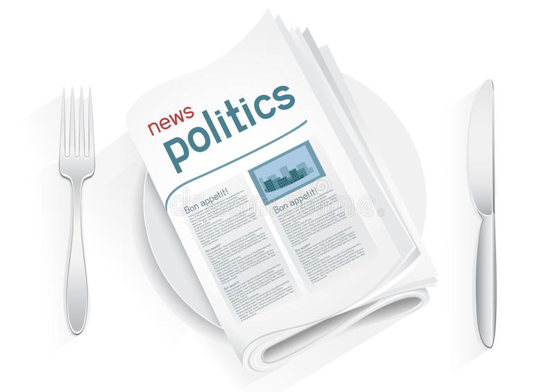 News politics tablewares. Political newspaper on a plate on a white background. News of the government. Fork and knife to eat politics news. Political kitchen royalty free illustration