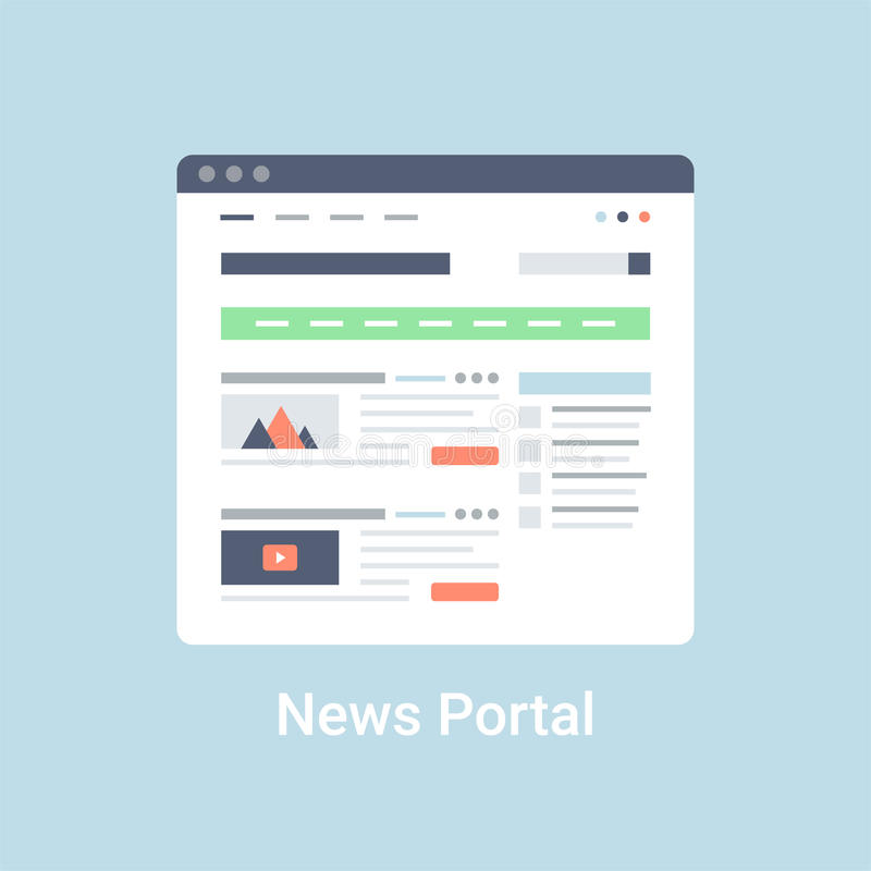 News Portal Wireframe. News portal website wireframe interface template. Flat vector illustration on blue background royalty free illustration