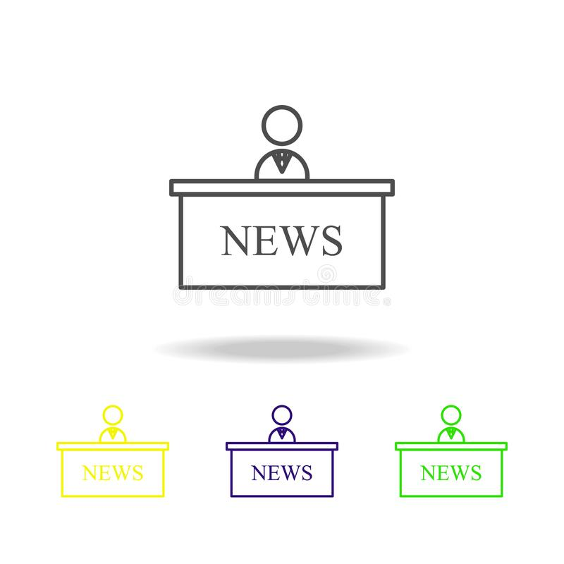 news presenter multicolored icons. Element of journalism for mobile concept and web apps illustration. Can be used for web, logo, royalty free illustration