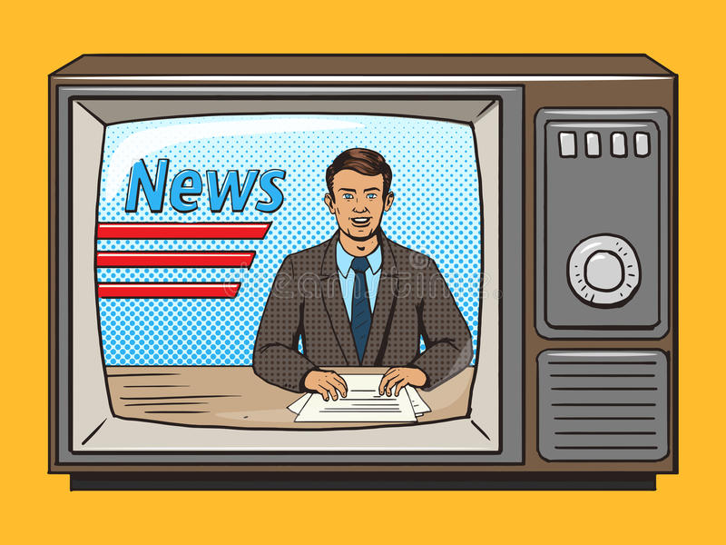 News presenter on tv pop art style vector. Illustration. Comic book style imitation. Vintage retro style. Conceptual illustration stock illustration