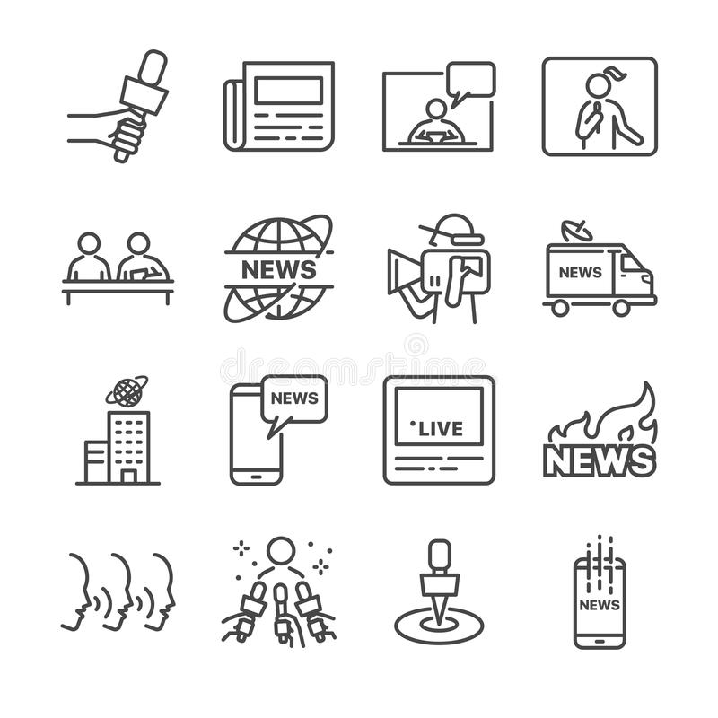 News related vector line icon set. Contains such icons as news, newspaper, reporter, social media live and more. stock illustration