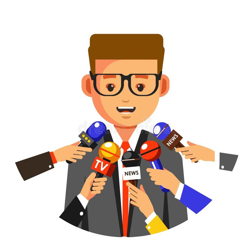News reportage interview or TV press conference. Interview or TV press conference news reportage vector man speaking in microphones speaker public person royalty free illustration
