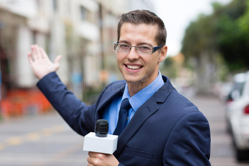 Download News reporter broadcasting stock image. Image of good - 34938173