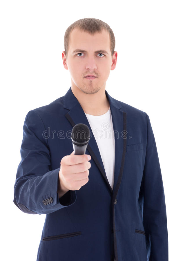 news reporter journalist interviews a person holding up the microphone isolated on white stock images
