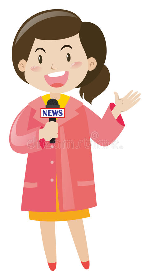 News reporter with microphone. Illustration stock illustration
