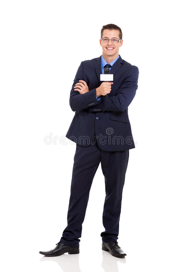 Download News reporter microphone stock photo. Image of attractive - 34935102