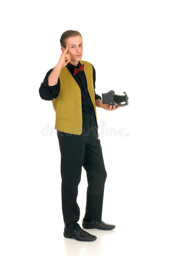 News reporter, retro style. Young news reporter, retro vintage style with antique camera, white background stock image