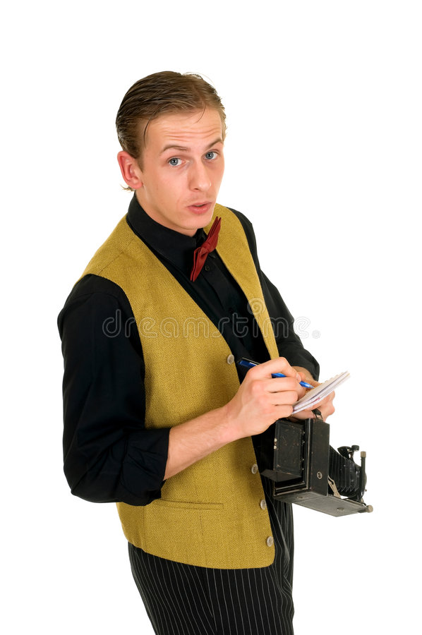 Download News reporter, retro style stock photo. Image of funny - 9132510