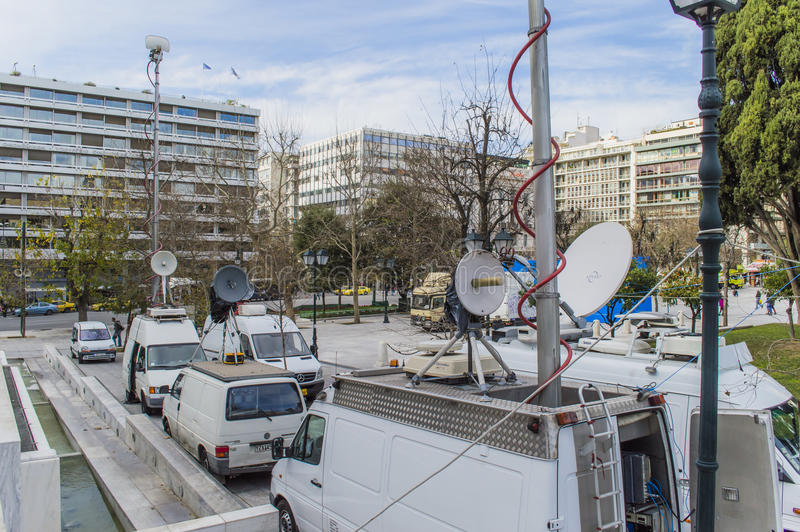 News reporter at syntagma square stock image