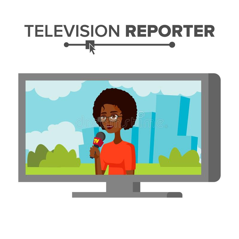 News Reporter Vector. Beautiful Smiling Female Television Reporter. Isolated On White Cartoon Character Illustration. TV Correspondent Vector. Journalist Woman vector illustration
