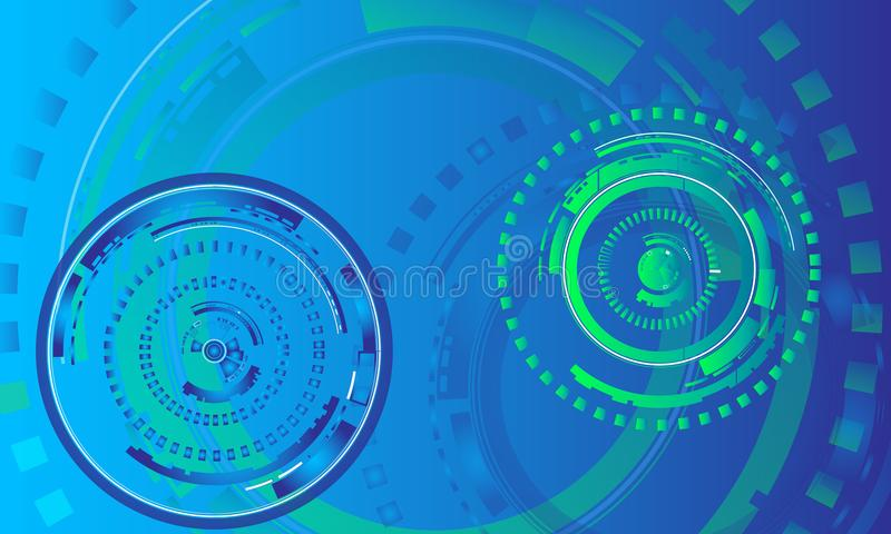 News room background concept/green and blue circular graphic elements for technology, computer science background. Abstract technology background/green and blue stock illustration