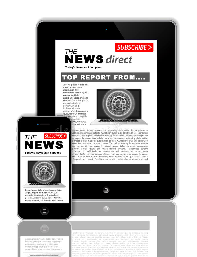 News on tablet and phone. An image showing how the news can be shown on a PC tablet and mobile phone at the same time. The news is the same on both items at the vector illustration