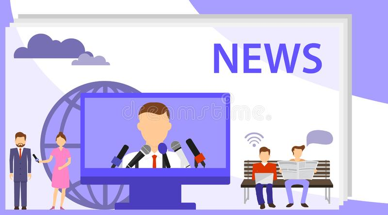 News vector illustration. The concept of news, interview. Flat tiny TV and newsletter read persons concept. Business service to vector illustration