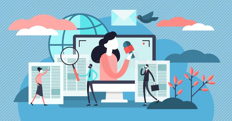 News vector illustration. Flat tiny TV and newsletter read persons concept. stock illustration
