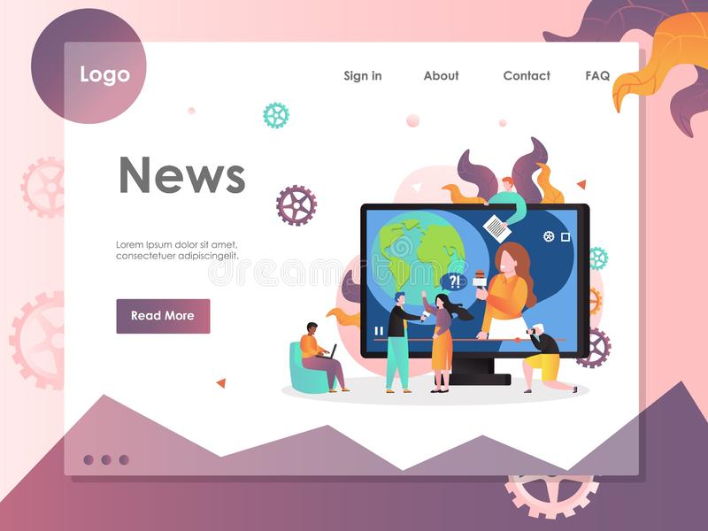 News vector website landing page design template. News vector website template, web page and landing page design for website and mobile site development. Mass vector illustration