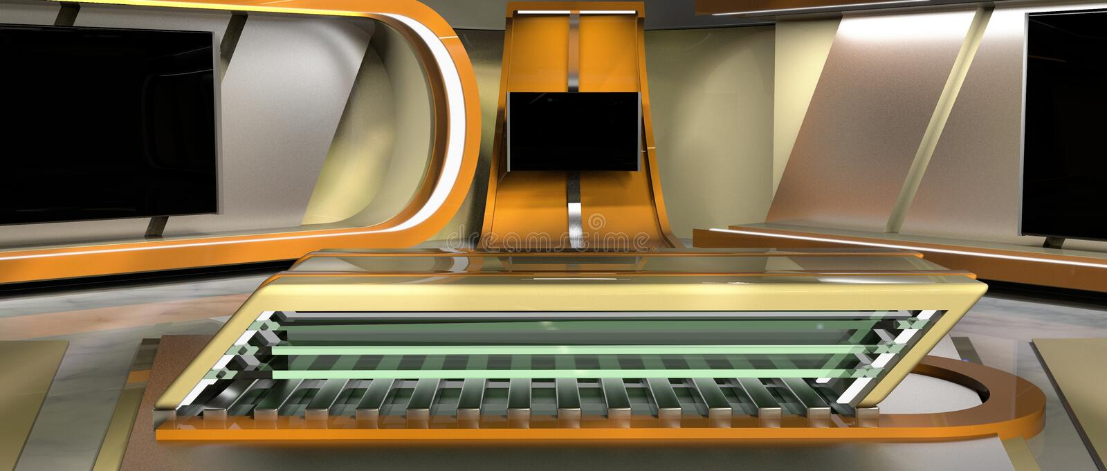 News Virtual Set. CGI 3D rendered Virtual Set for news and TV, front view stock illustration