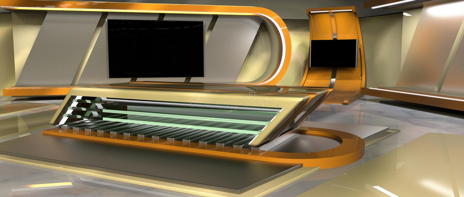 News Virtual Set. CGI 3D rendered Virtual Set for news and TV, right view royalty free illustration