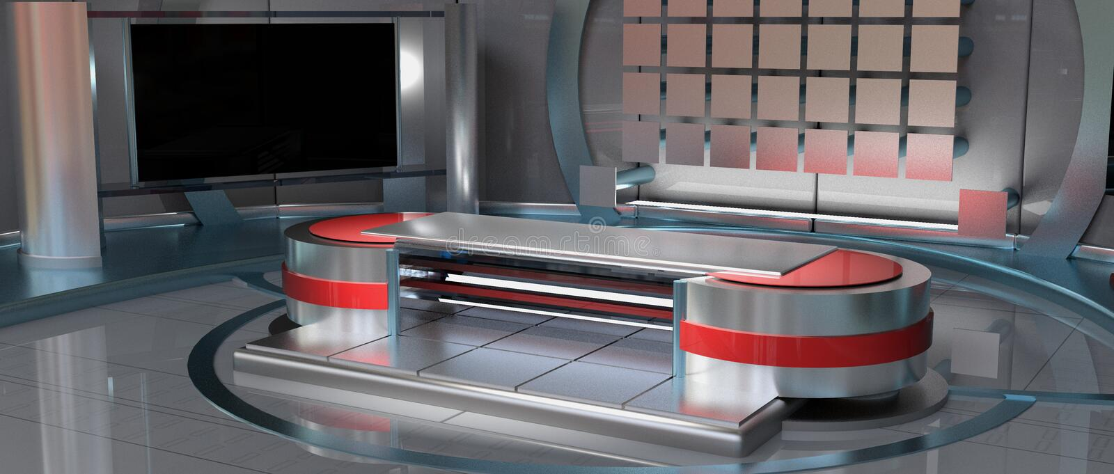News Virtual Set right view. CGI 3D rendered news Virtual Set in metallic red, right view camera angle stock illustration