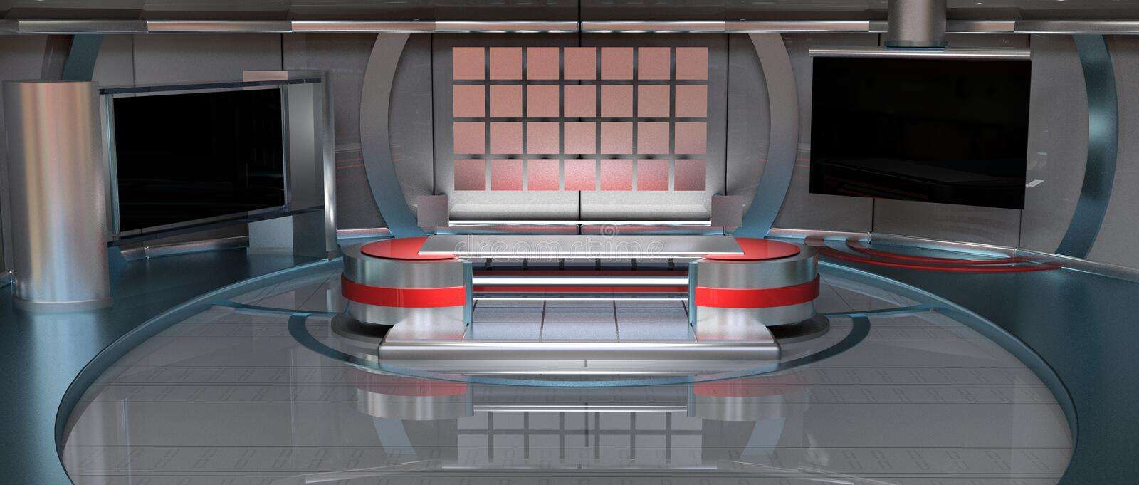 News Virtual Set wide angle. CGI 3D rendered news Virtual Set in metallic red, wide angle view royalty free illustration