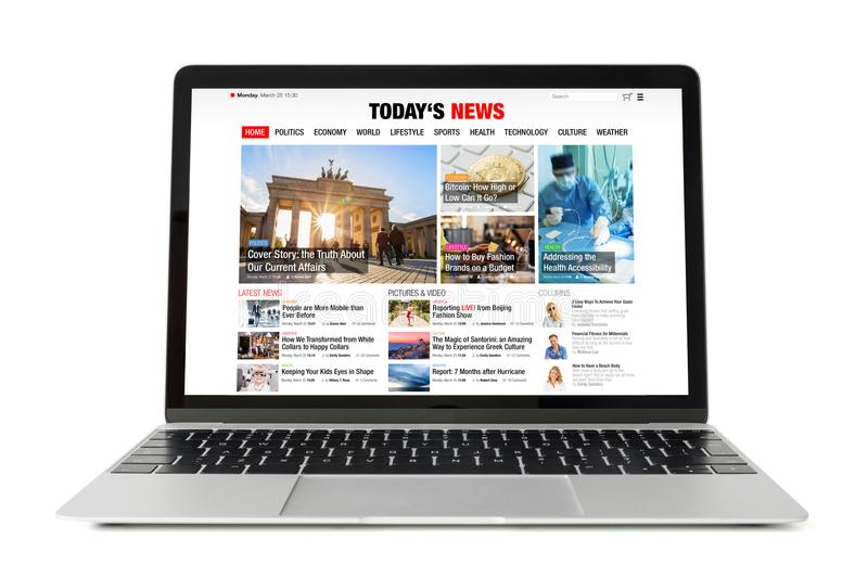 News website on laptop. All contents are made up. News website concept stock image