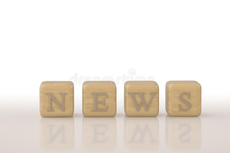 News words wood block.3D illustration. royalty free illustration