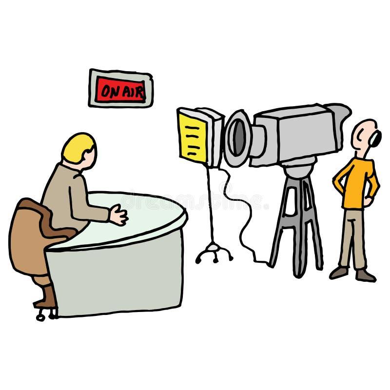 Newscaster reportaż żywy w studiu royalty ilustracja