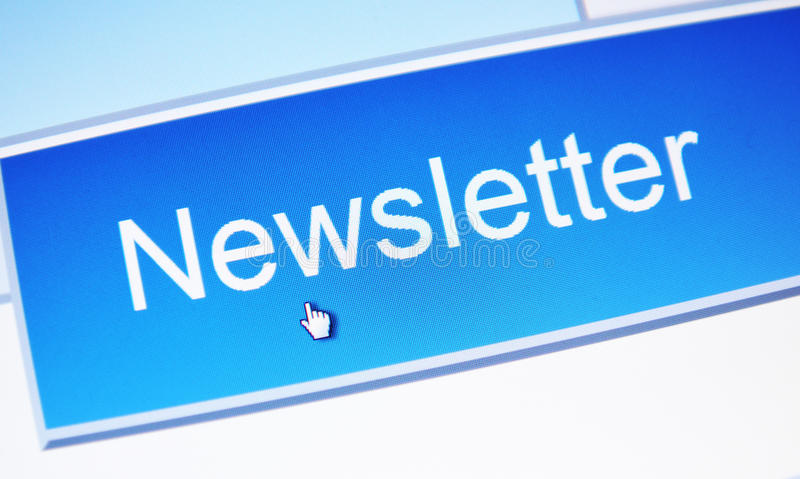 Newsletter. Hand cursor accessing on-line newsletter