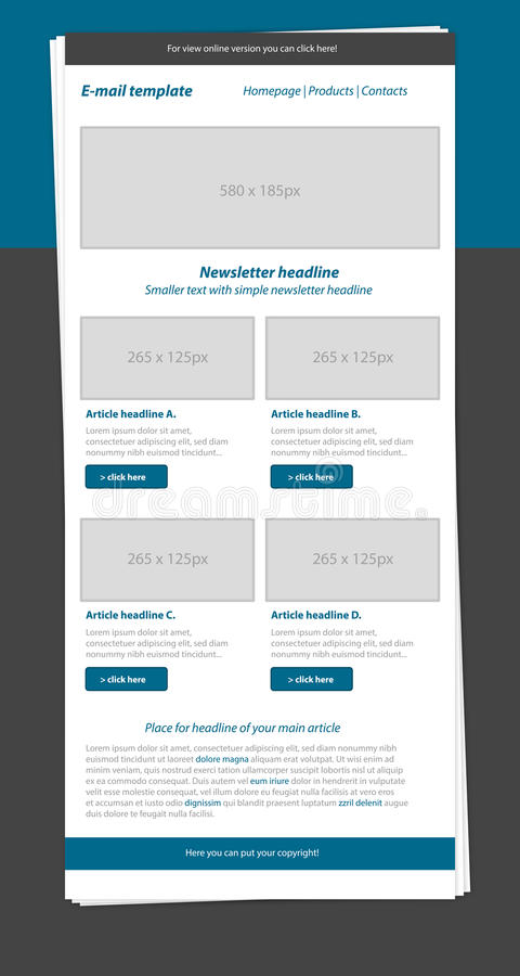 Newsletter blue template with business style. Newsletter layout blue template with business style stock illustration