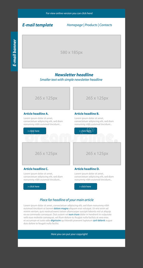 Newsletter blue template with business style. Newsletter layout blue template with business style royalty free illustration