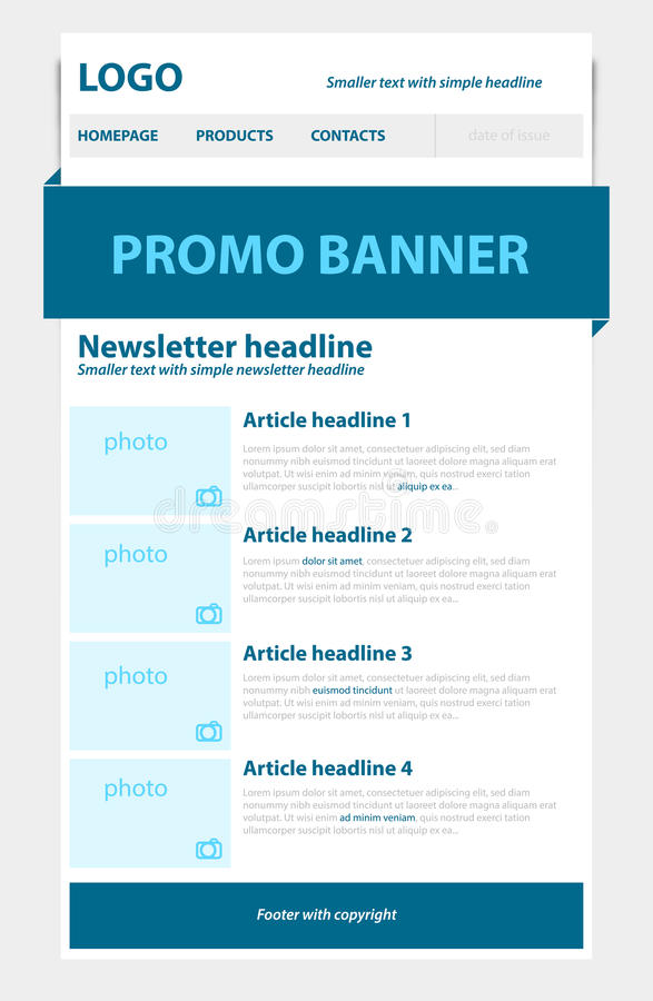 Newsletter blue template with business style. And text stock illustration