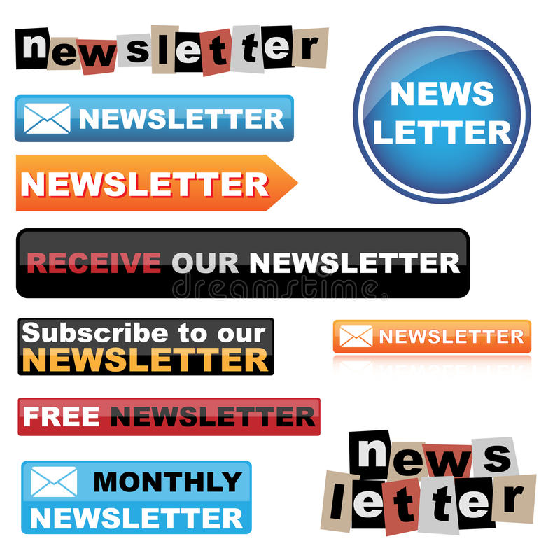 Newsletter Buttons Royalty Free Stock Photos