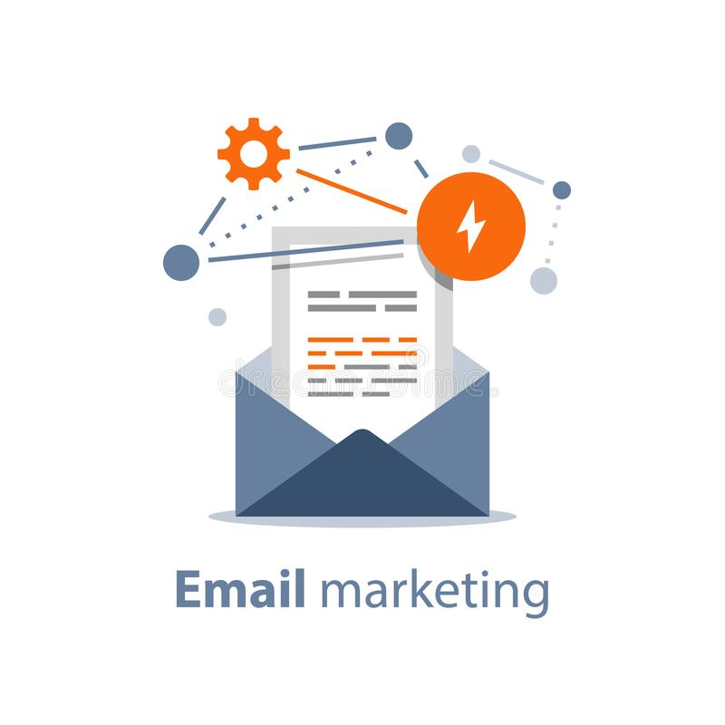Newsletter concept, email marketing strategy, opened envelope, writing letter, summary news rss services vector illustration